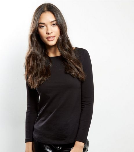 Petite Black Long Sleeve T-Shirt | New Look