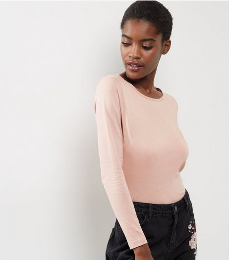 Petite Pink Long Sleeve T-Shirt | New Look