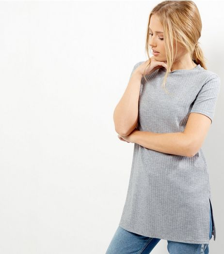 Grey Ribbed Longline T-Shirt  | New Look