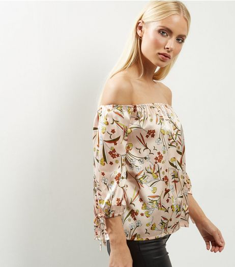 Influence Pink Sateen Floral Print Bardot Neck Top  | New Look