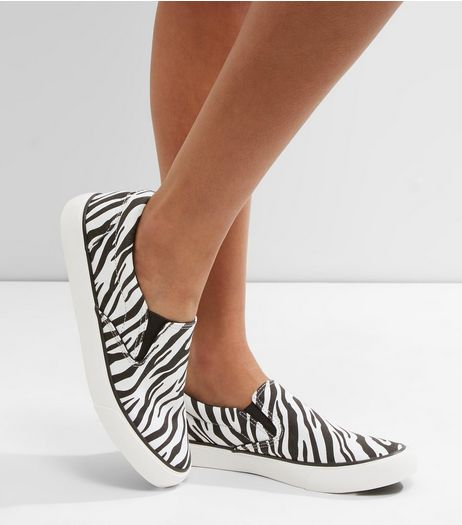 White Zebra Print Slip On Plimsolls | New Look