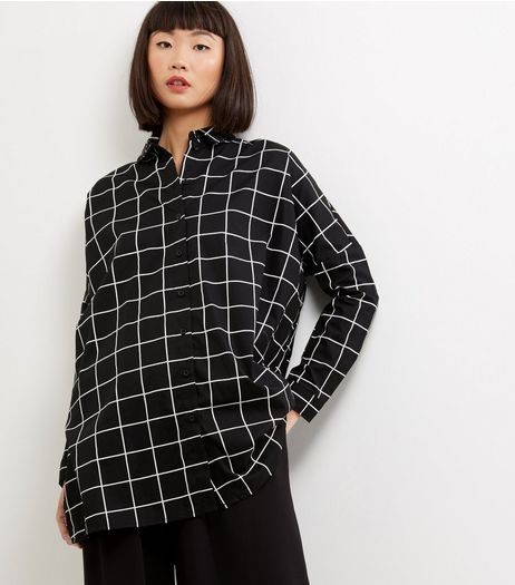 Black Grid Print Long Sleeve Shirt  | New Look