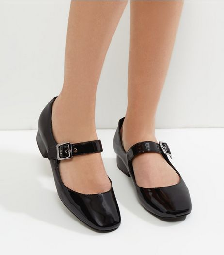 Black Patent Buckle Strap Block Heel Pumps | New Look