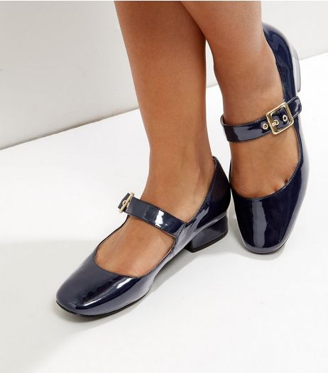 Navy Blue Patent Buckle Strap Block Heel Pumps | New Look