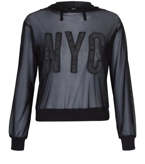 Teens Black Mesh NYC Hoodie | New Look