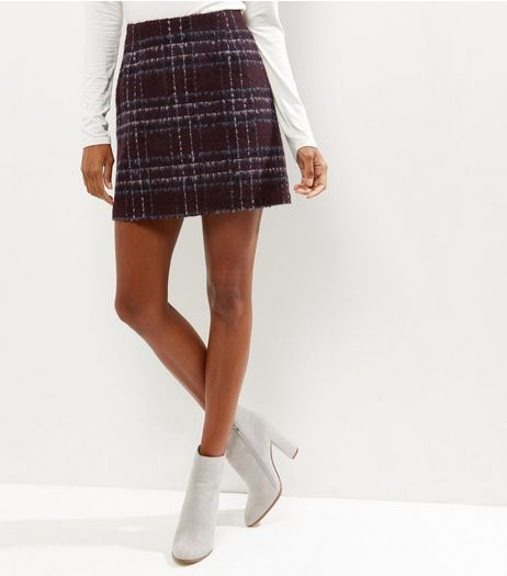 Burgundy Check Brushed Skirt | New Look