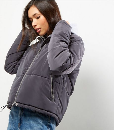 Dark Grey Padded Puffer Jacket  | New Look