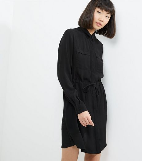 Black Double Pocket Drawstring Waist Shirt Dress | New Look