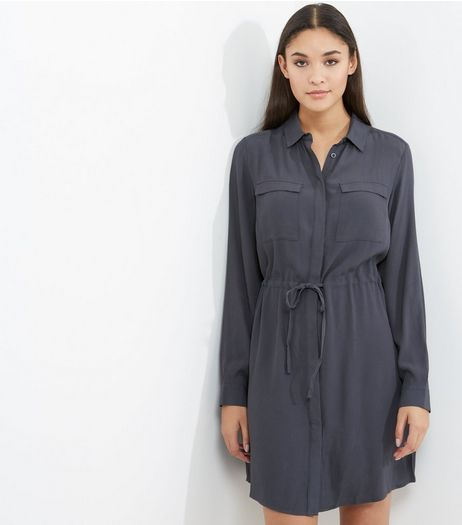 Dark Grey Double Pocket Drawstring Waist Shirt Dress | New Look