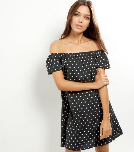 Black Polka Dot Bardot Dress | New Look