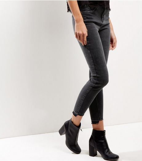 Black Washed Drop Down Step Hem Skinny Jeans | New Look