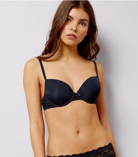 Black Low Cup T-Shirt Bra  | New Look