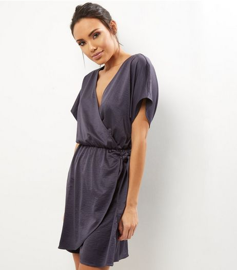 Dark Grey Sateen Wrap Front Dress | New Look