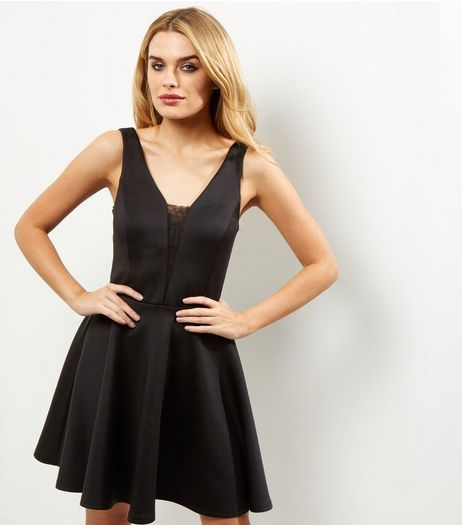 Black Scuba Mesh Panel Sleeveless Skater Dress | New Look