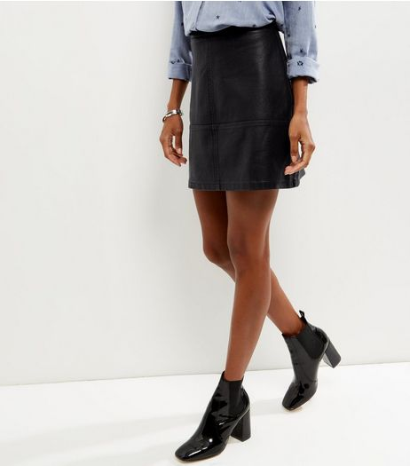 Black Leather Look Mini Skirt | New Look