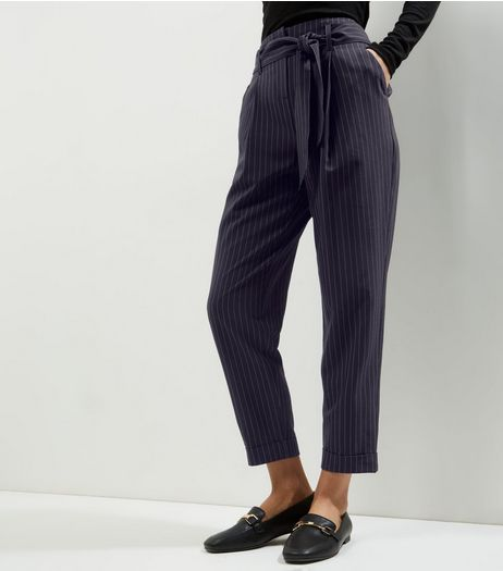 Navy Pinstripe Print Tie Waist Trousers  | New Look