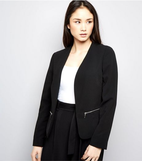 Black Zip Trim Blazer  | New Look