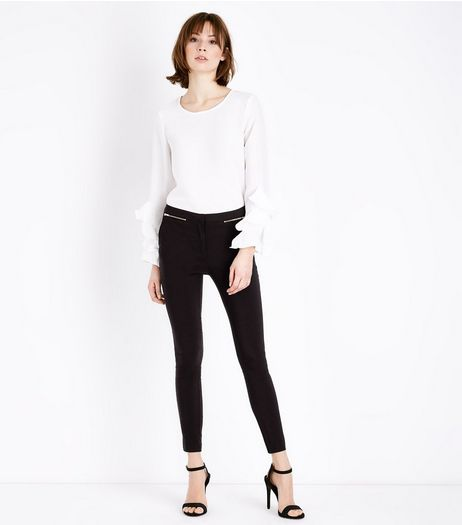 Black Zip Trim Slim Leg Bengaline Trousers  | New Look