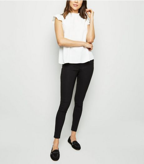 Black Zip Trim Bengaline Slim Leg Trousers  | New Look