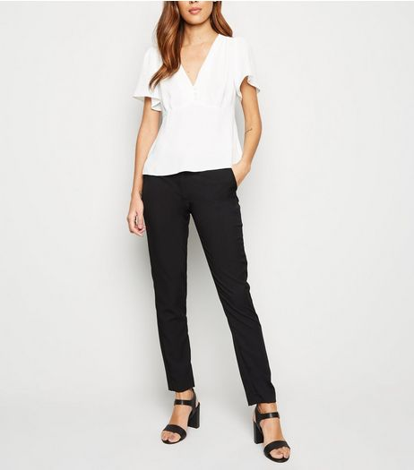 Black Stretch Slim Leg Trousers  | New Look