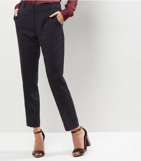 Black Stretch Slim Leg Cropped Trousers | New Look