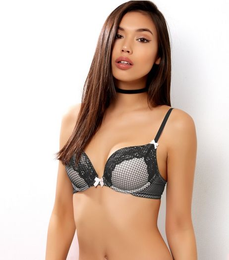 Black Lace Push Up Bra  | New Look