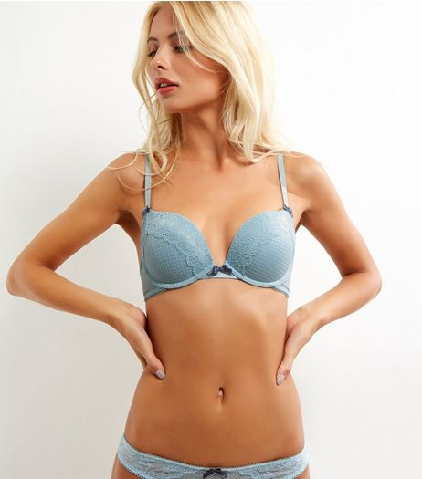 Mint Geometric Mesh Lace Trim Push Up Bra | New Look