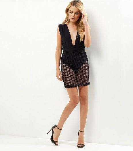 Black Plunge V Neck Mesh Panel Bodycon Dress | New Look