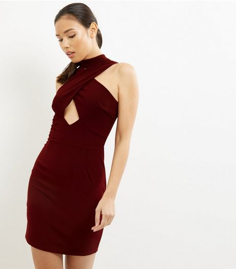 Burgundy Cross Front Choker Neck Dress | New Look
