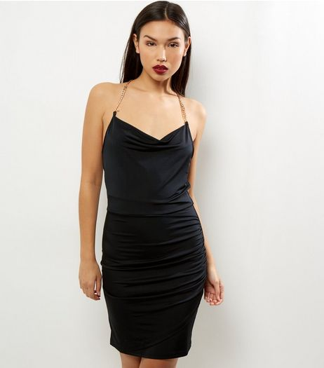 Black Chain Strap Ruche Front Dress | New Look