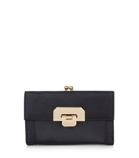 Black Snakeskin Texture Chunky Lock Front Purse | New Look