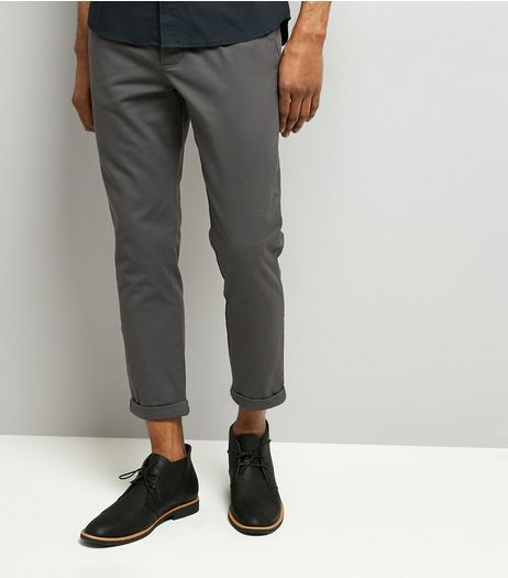 Dark Grey Pleated Tapered Cropped Trousers | New Look
