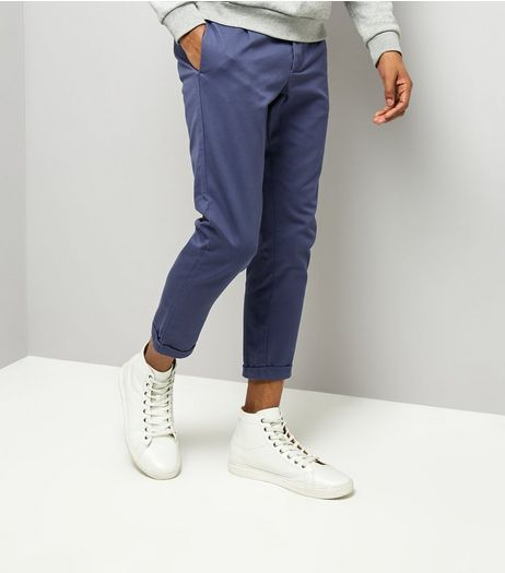 Navy Pleated Tapered Cropped Trousers | New Look