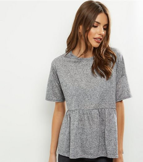 Dark Grey Short Sleeve Peplum Top | New Look