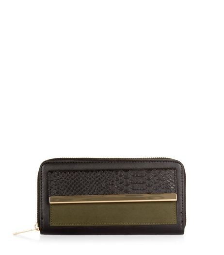 Black Colour Block Metal Trim Zip Around Purse  | New Look
