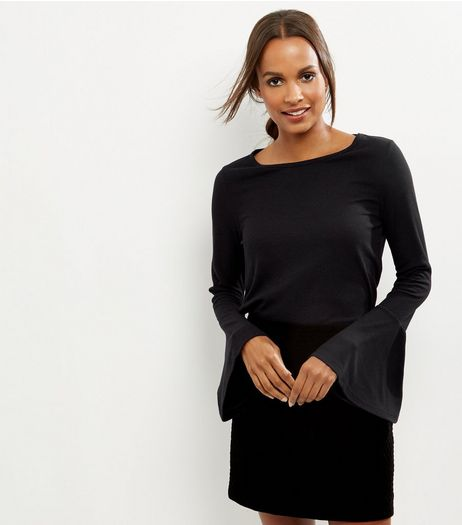 Black Ribbed Bell Sleeve Top  | New Look