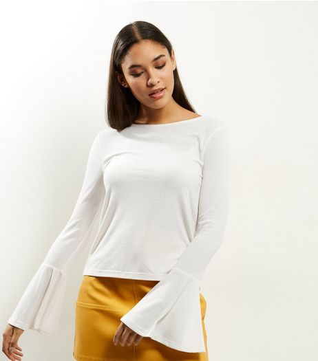 Cream Ribbed Bell Sleeve Top  | New Look