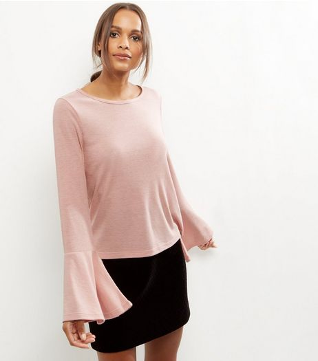 Mid Pink Ribbed Bell Sleeve Top  | New Look