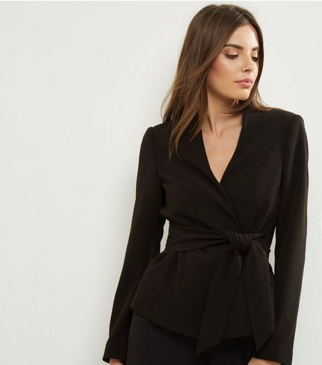 Black Tie Front Cropped Jacket  | New Look
