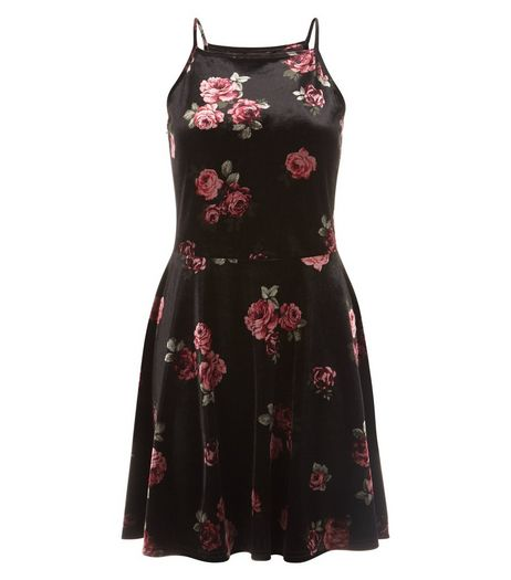 Teens Black Rose Print Velvet Skater Dress | New Look