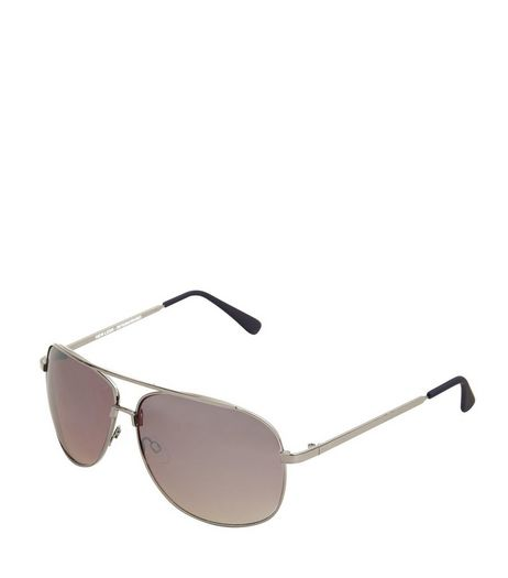 Silver Bar Top Pilot Sunglasses | New Look