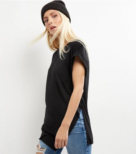 Black Asymmetric Hem Wrap Front Longline T-Shirt  | New Look