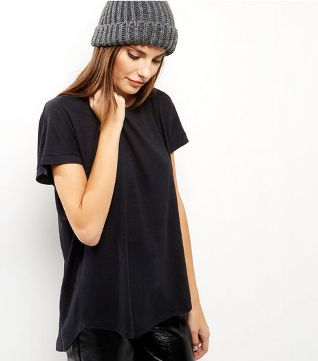 Black Split Back T-Shirt  | New Look