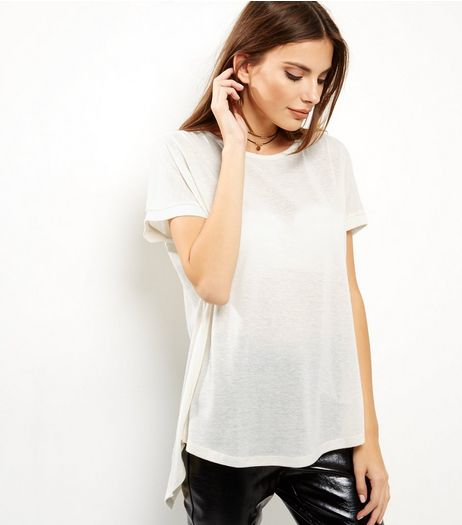 Cream Split Back T-Shirt  | New Look