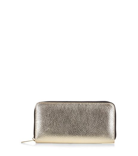 Gold Metallic Zip Around Purse | New Look
