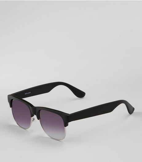 Black Metal Trim Sunglasses | New Look