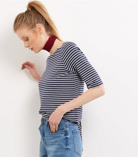 Blue Stripe Tie Back 1/2 Sleeve T-shirt | New Look