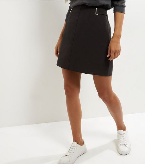 Black Crepe A-Line Skirt  | New Look
