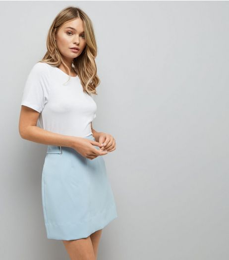 Pale Blue Crepe Eyelet Trim A-Line Skirt | New Look