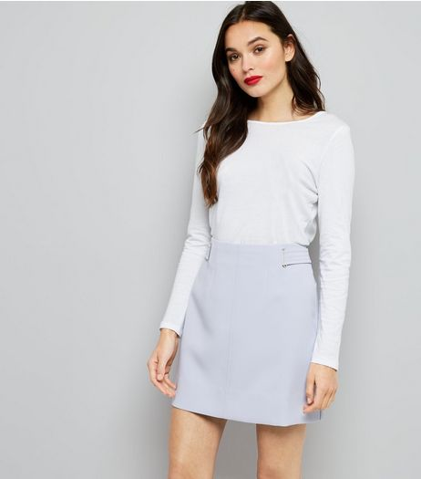 Lilac Eyelet Trim Crepe A-Line Skirt  | New Look
